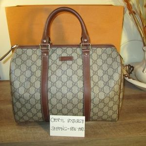 5c1268c5d Gucci · Beige/Brown Coated Canvas Joy Medium Boston Bag